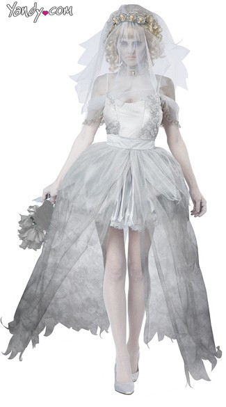 Ghostly Bride Costume - Grey