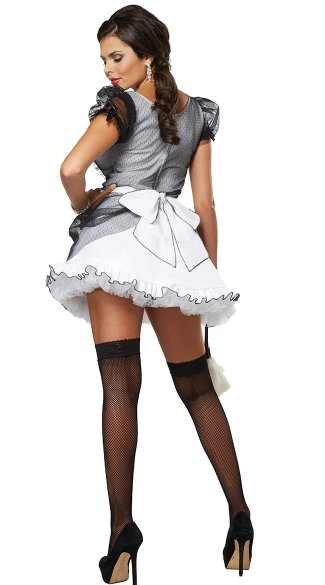Plus Size Down and Dirty French Maid Costume - White/Black