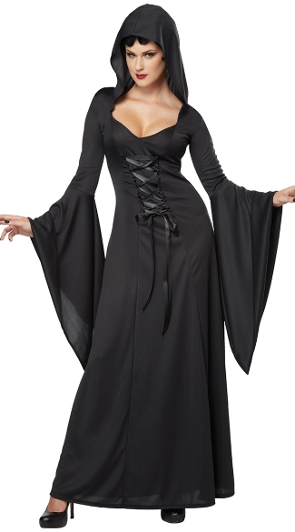 Black Hooded Robe Costume - Black
