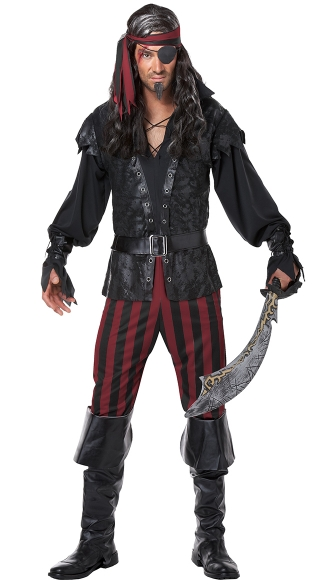 Men's Ruthless Rogue Costume - Black/Red