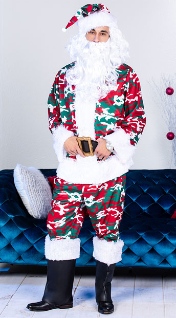Men's Camo Santa Suit Costume - Red/White/Green