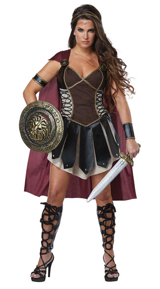 Glorious Gladiator Costume - Black/Burgundy