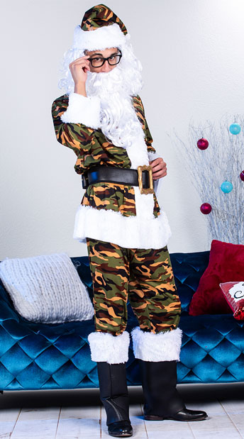 Men's Classic Camo Santa Suit Costume - Green/Brown