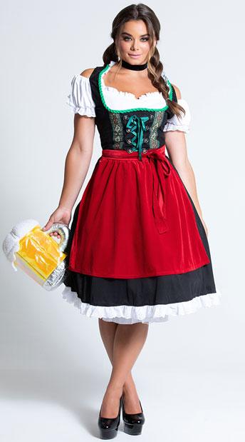 Oktoberfest Fraulein Costume - Black/Red