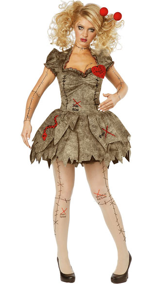 Sexy Voodoo Dolly Costume - Black/White