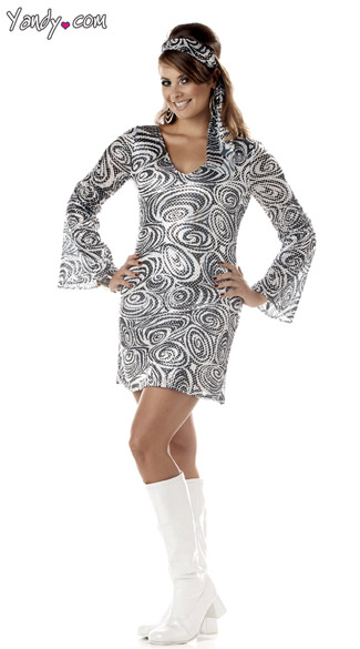 Plus Size Disco Diva Costume Dancing Disco Diva Costume Silver
