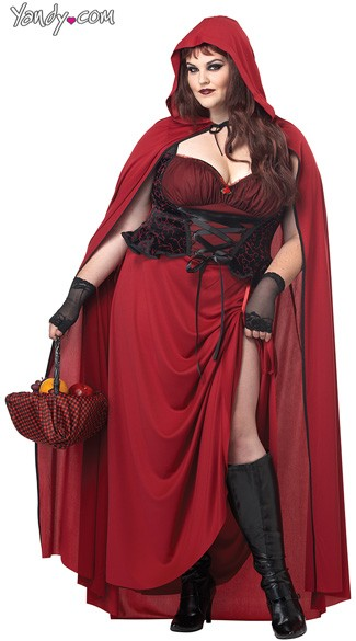 Plus Size Dark Red Riding Hood Costume, Plus Size Riding Hood Costume, Plus Size Little Red Riding Hood Costume