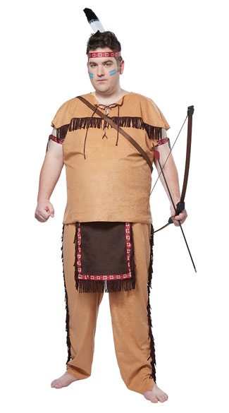 size men's native american brave costume, men's plus size indian