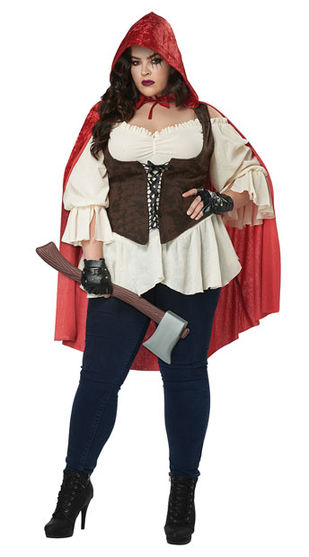 Plus Size Red Hooded Wolf Slayer Costume - Cream/Red