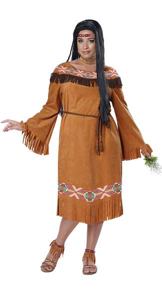 Plus Size Classic Native American Maiden Costume - Tan
