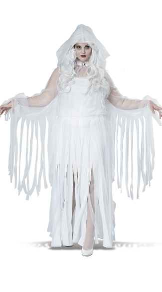 Plus Size Ghostly Spirit Costume, Plus Size White Ghost Costume
