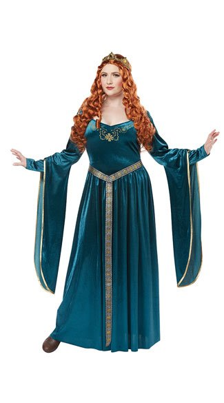 Plus Size Lady Guinevere Costume - Teal