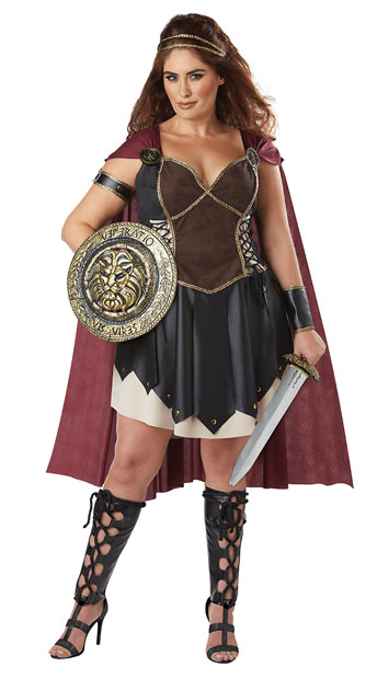 Plus Size Glorious Gladiator Costume - Black/Burgundy