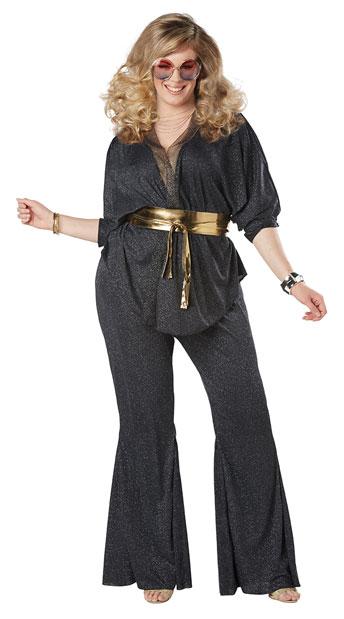 Plus Size Disco Dazzler Costume - Black/Gold