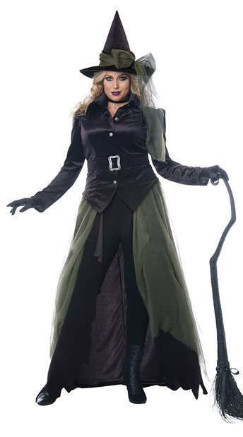 Plus Size Gothic Witch Costume - Black/Green