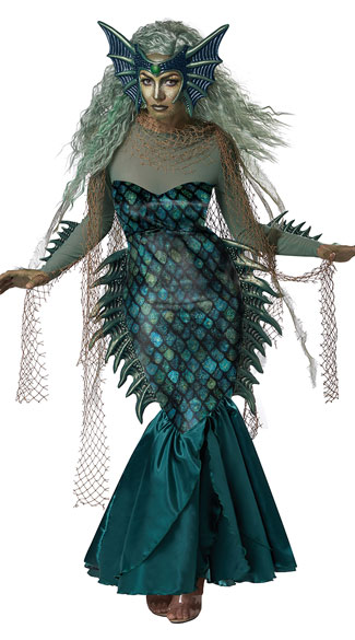 Dark Sea Siren Costume  - Green/Blue