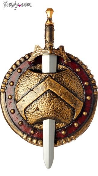 Spartan Combat Shield & Sword - Red/Gold