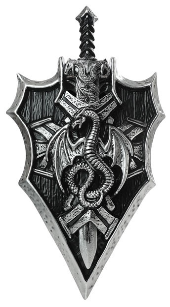 Dragon Lord Sword and Shield - Silver/Black