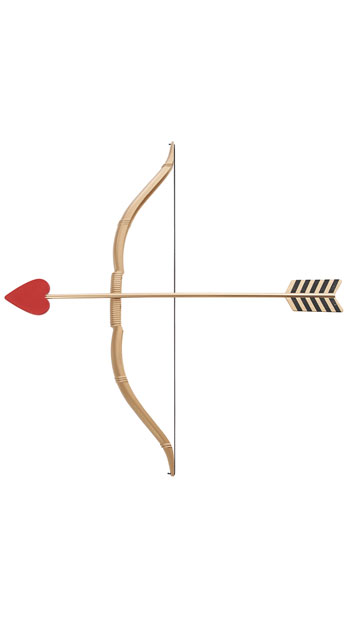 Cupid's Bow and Arrow Set - Gold/Red