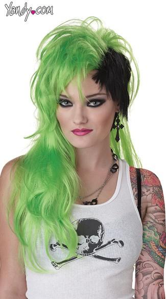 Smash Punk Green Wig Punk Wigs Green And Black Wig