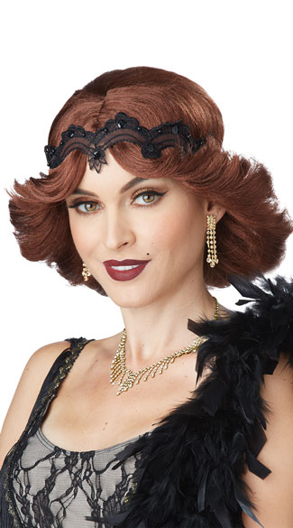 Brunette 20s Glitz and Glamour Wig, Brown Flapper Wig, 1920s Wig