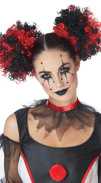 Curly Clown Hair Puffs - Red/Black