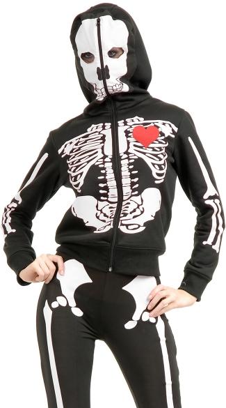 Skeleton Heart Hoodie - Black/White