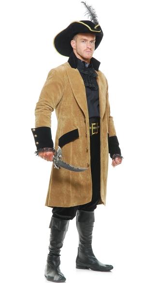 Mens Elegant Pirate Costume - Tan/Black