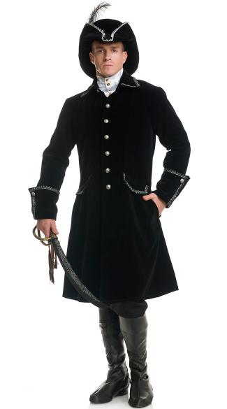 Men's Distinguished Pirate Costume - Black/Silver