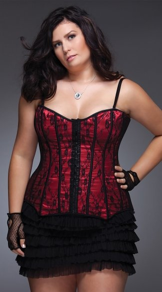 Plus Size Lace and Satin Corset, Plus Size Burgandy Corset, Plus Size White Corset, Plus Size Lace Up Corset