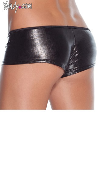 Plus Size Wet Look Booty Shorts - Black