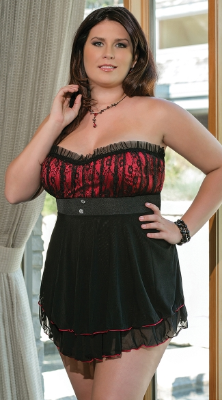 Plus Size Romantic Baby Doll Set - Black/Red