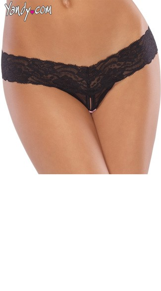 Mesh and Lace Crotchless Thong - Black