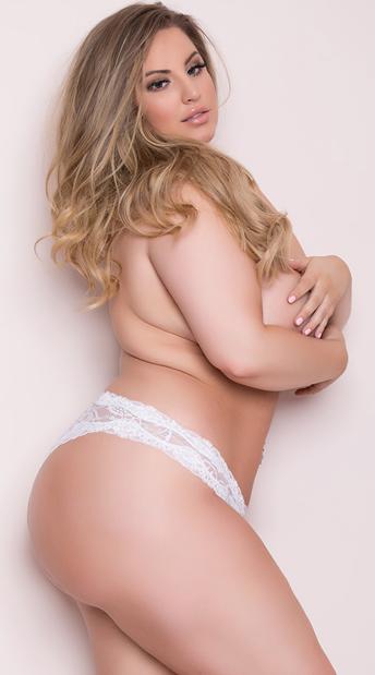 Plus Size Lace Crotchless Panty - White