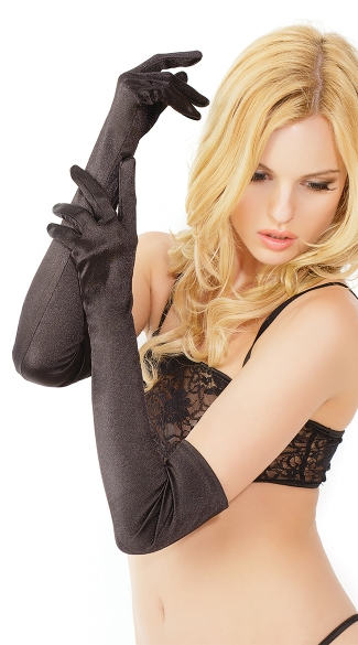 Satin Lycra Gloves, Long Satin Gloves, Sexy Satin Gloves, Above the Elbow Gloves