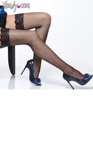 Plus Size Lace Top Fishnet Stockings - as shown