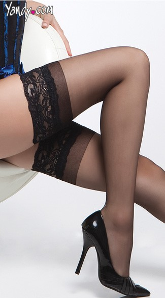 Plus Size Sheer Thigh High Stay Up Stockings - as shown