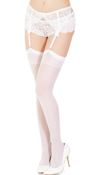 Plus Size Sheer Back Seam Thigh High Stockings - White