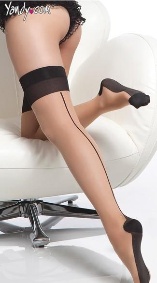Back Seam Cuban Heel Stockings - as shown
