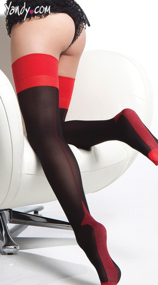 Opaque Contrast Cuban Heel Stockings - as shown