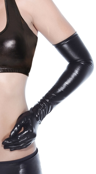Shiny Black Gloves - Black