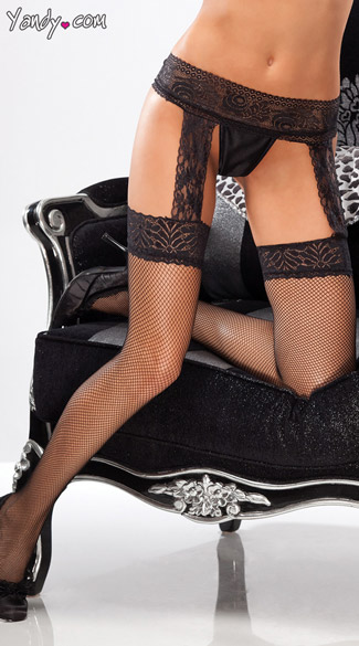 Fishnet Thigh Highs with Lace Garter Belt - as shown