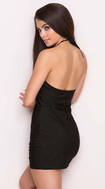 Black Halter Dress with Lace Cutout - Black