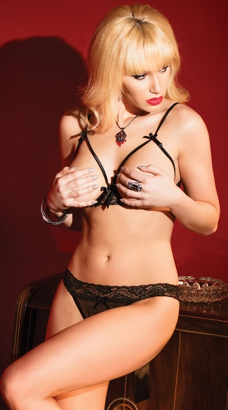 Strappy Cupless Bra and Crotchless Panty - Black