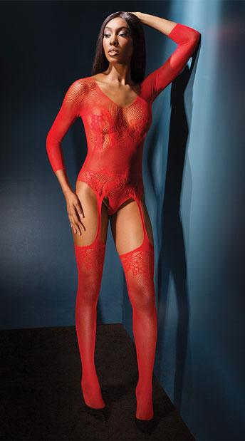 Scarlet Temptress Bodystocking - Red