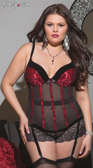 Plus Size Powernet Red and Black Bustier, Sexy Bustier, Sexy Damask print Bustier
