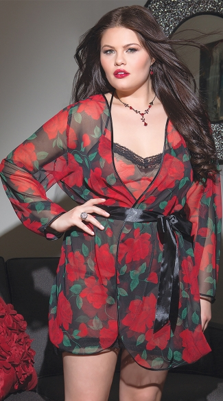 Plus Size Rose Print Chiffon Robe, Full Figured Sexy Rose Print Robe