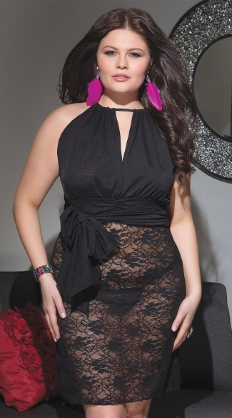 Plus Size Stretch Lace and Mesh Black Chemise, Full Figured Sexy Black Chemise