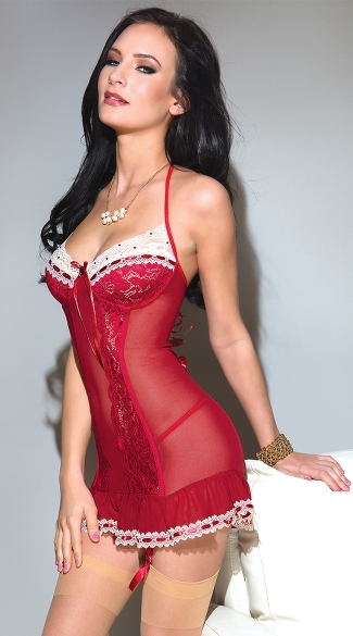 Red Mesh and Stretch Lace Chemise, Sexy Red Sheer Chemise, Sexy Red Chemise