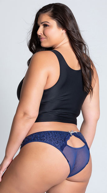 Plus Size Navy Blue Sequin and Mesh Panty - Navy